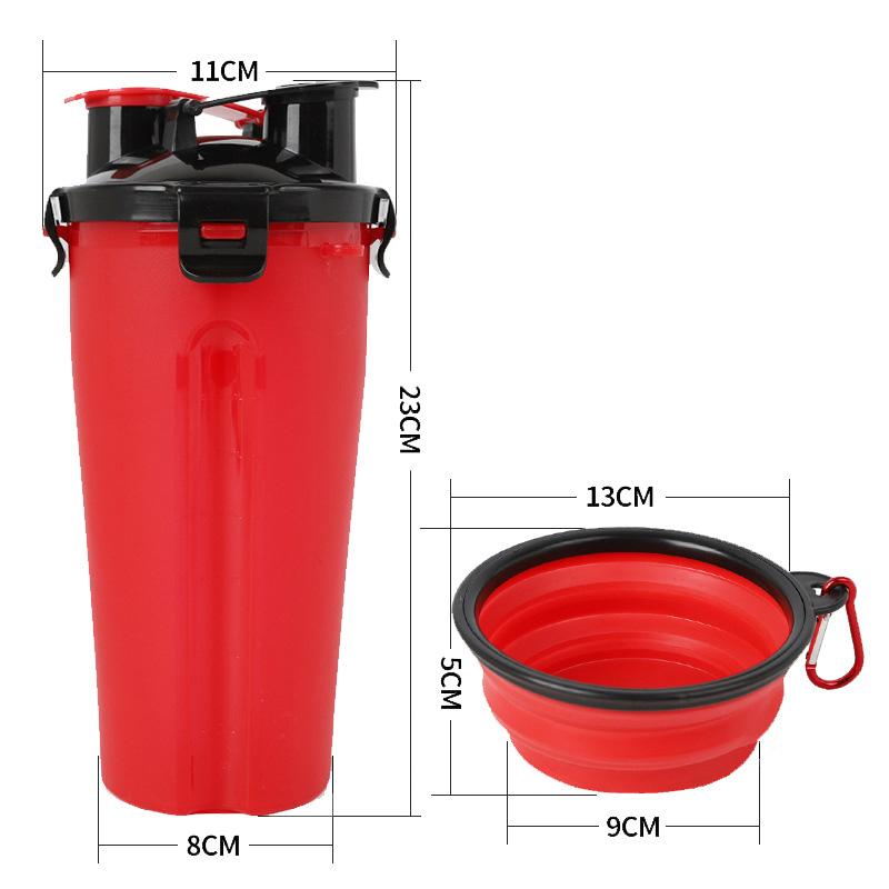 2 in 1 Portable Outdoor Travel Pet Feeder with Water Bottle